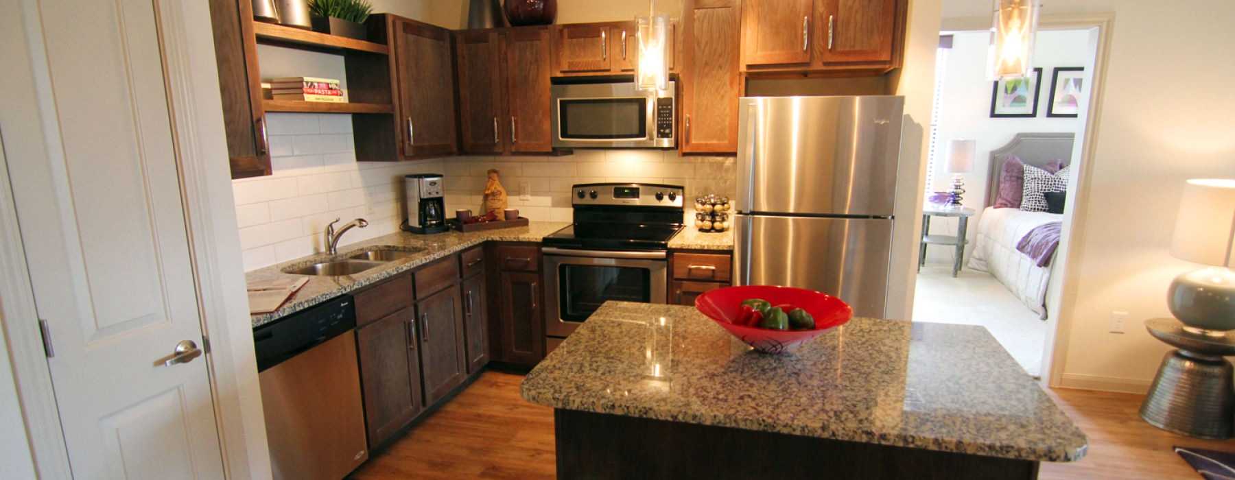 spacious, open kitchen with island counter