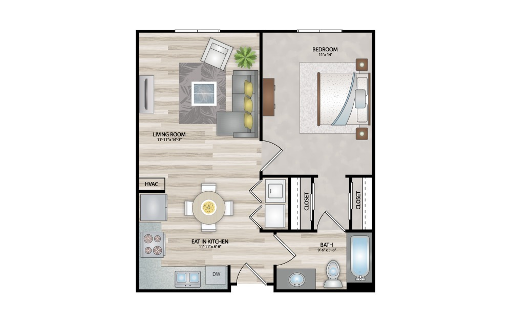 A1 - 1 bedroom floorplan layout with 1 bath and 621 square feet.