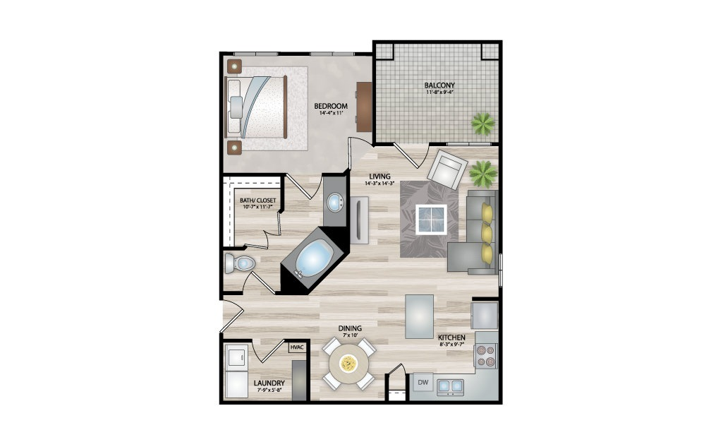 A2 - 1 bedroom floorplan layout with 1 bath and 805 square feet.