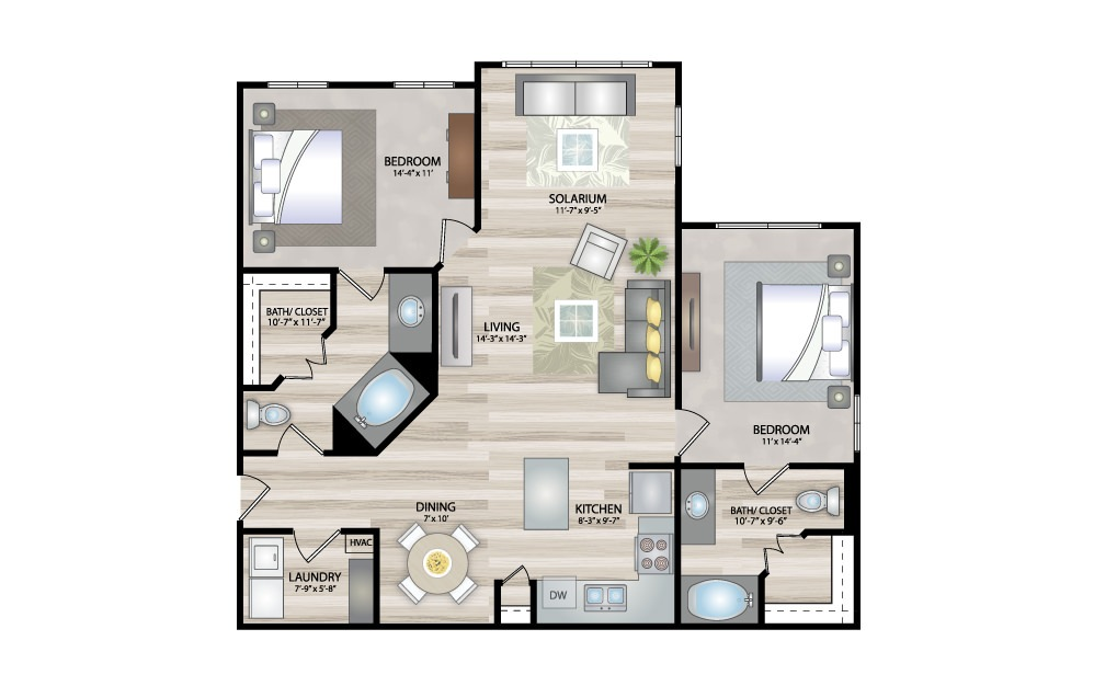 B2 - 2 bedroom floorplan layout with 2 baths and 1205 square feet.