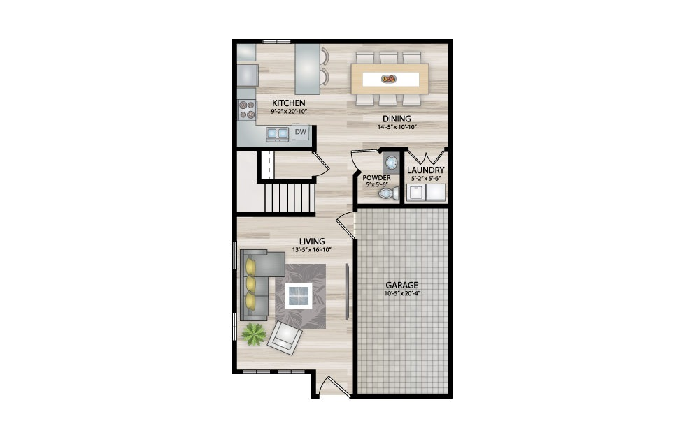 B4 - 2 bedroom floorplan layout with 2.5 baths and 1365 square feet. (Floor 1)