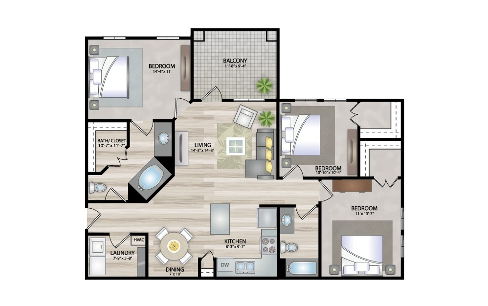 C1 - 3 bedroom floorplan layout with 2 baths and 1238 square feet.