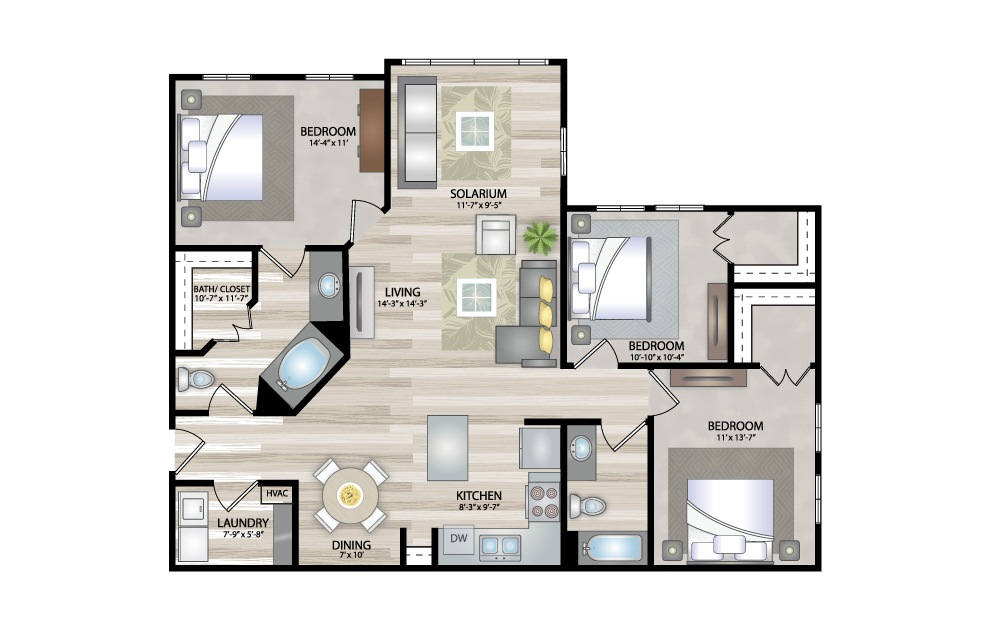 C2 - 3 bedroom floorplan layout with 2 baths and 1355 square feet.