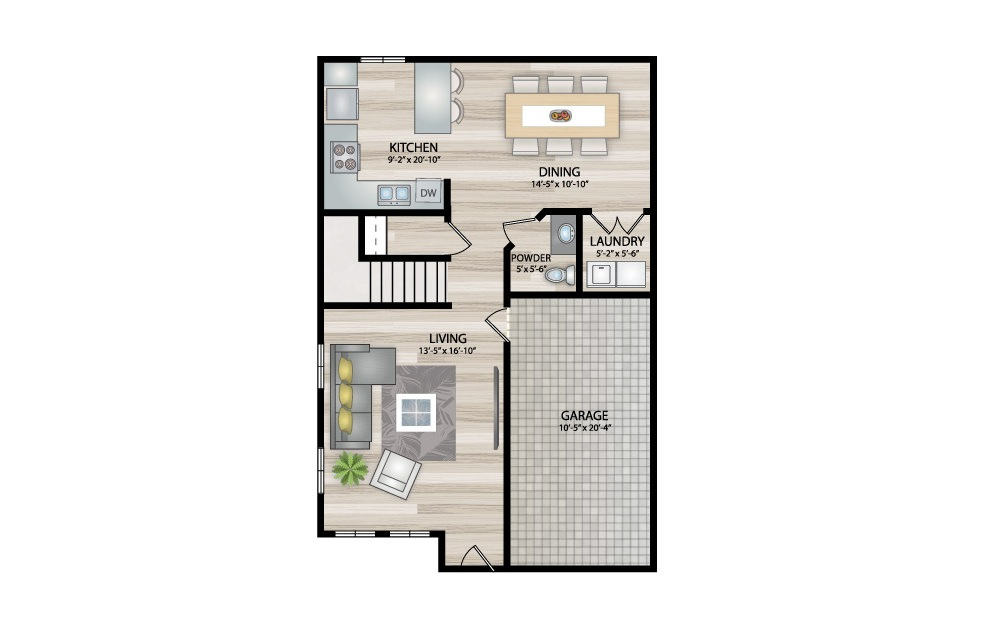 C3 - 3 bedroom floorplan layout with 2.5 baths and 1526 square feet. (Floor 1)